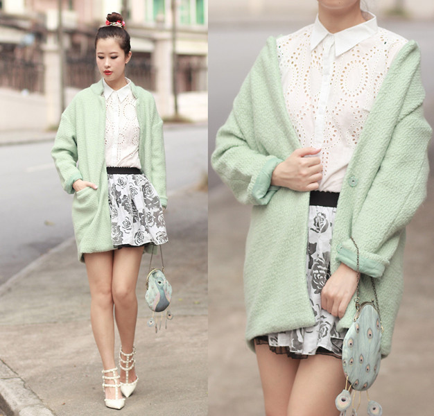 Light Green Longline Wool Coat | Choies