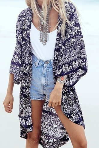 cardigan colllarless ethnic pattern print blouse kimono beach summer