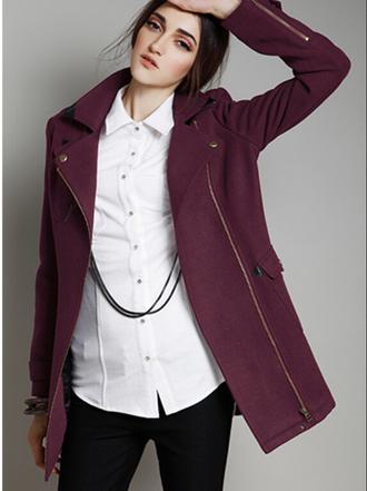 coat burgundy gold zip black long women winter outfits