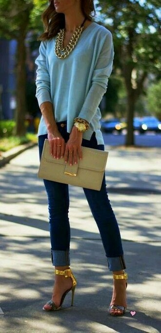 bag handbag women gold jewelry sexy jeans classy high heels sweater jeans blouse shoes jewels