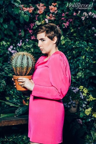 dress lena dunham pink dress short dress long sleeve dress short hair editorial celebrity actress