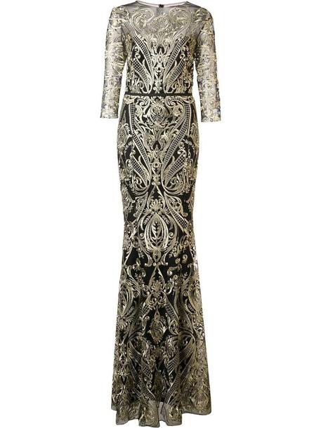 Marchesa Notte dress long dress long women black