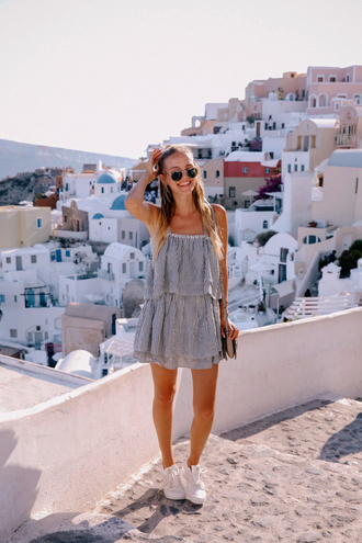 dress tumblr mini dress stripes striped dress summer dress vacation outfits sneakers white sneakers shoes sunglasses holidays