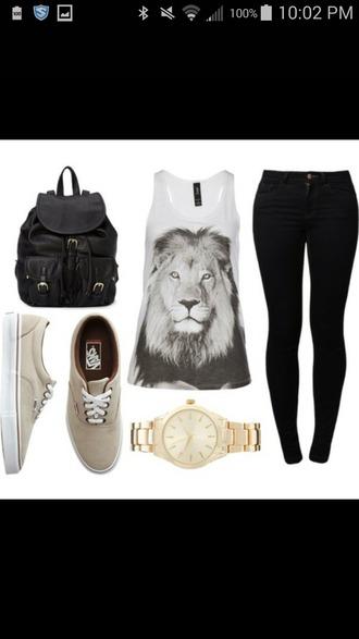 tank top bag vans jeans top shoes lion