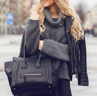 coat jacket perfecto leather jacket leather bag leather sweater knitted sweater knitwear grey sweater grey gray bag black bag celine celinebag winter sweater winter coat winter jacket winter outfits winter outerwear winter out