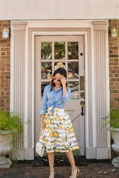 skirt,midi skirt,stripe lemon skirt,sandals,chambray shirt,clutch,blogger,blogger style