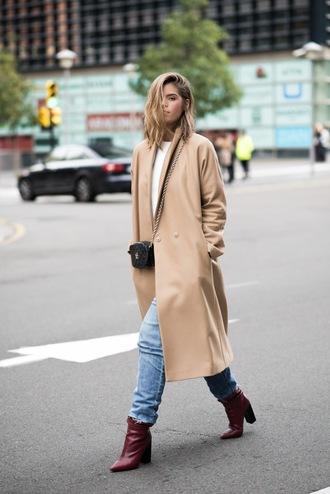ms treinta blogger coat shoes sweater beige coat crossbody bag ankle boots jeans bag