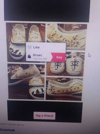 shoes lord of the rings vans converse print cool lotr yellow