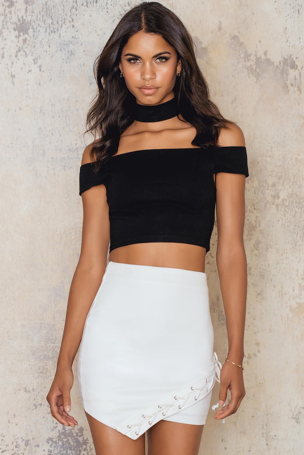 Rare London Asymmetric Lace Trim Skirt
