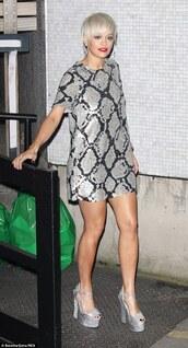 dress,sequin dress,sequins,platform high heels,silver,rita ora,animal print