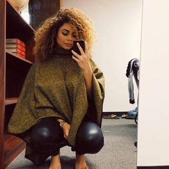 trendy beauty poncho sweater leggings leather cawestbrooks curly hair black girls killin it crystal westbrooks