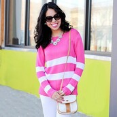 sweater,the shopping bag,striped sweater,stripes,pink,pink sweater,preppy,preppy sweater,pink and white,pink stripes,white stripes,knitted sweater,bright knit sweater,bright pink