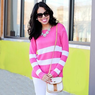 sweater the shopping bag striped sweater stripes pink pink sweater preppy preppy sweater pink and white pink stripes white stripes knitted sweater bright knit sweater bright pink
