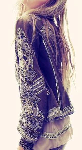 jacket coat embroidered boho hippie festival silver blouse chic bell sleeve blazer