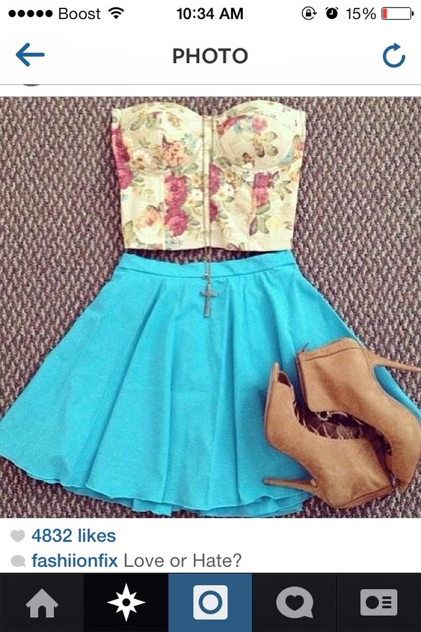 skirt floral print shirt shirt shorts shoes