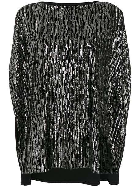 Talbot Runhof cape women spandex black velvet top