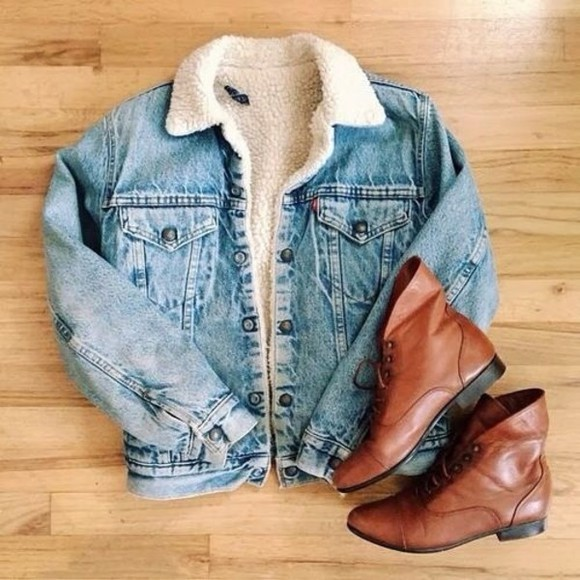 jeans acid wash coat jacket denim jacket cute hipster sherpa denim shoes ankle boots fall outfits bleached borg fur