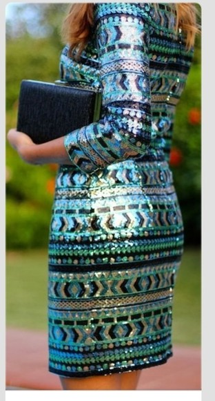 dress green black short party dress sequins blue sequins aztecprint gold sequins long sleeved dress