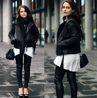 the little magpie blogger jacket scarf bag perfecto leather pants fall outfits
