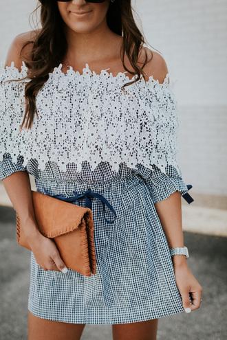 dress tumblr off the shoulder off the shoulder dress mini dress lace dress bag clutch
