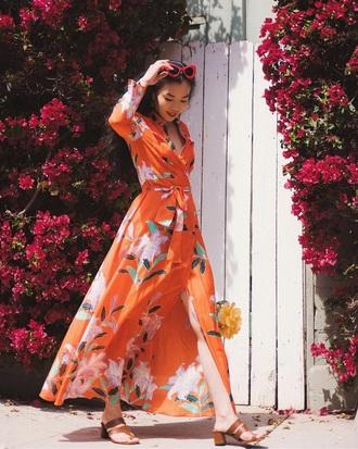 dress maxi dress long dress floral dress floral orange dress orange sandals sunglasses red sunglasses bag
