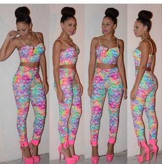 rains two-piece tie dye tyedye pants crop tops rainbow color rainbow shoes top