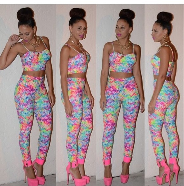 rains two-piece tie dye tie dye pants crop tops rainbow color rainbow shoes top