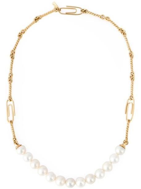 AURELIE BIDERMANN women pearl necklace gold white grey metallic jewels