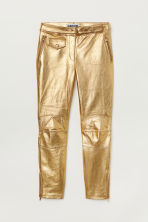 Ankle-length Leather Pants - Gold-colored - | H&M US