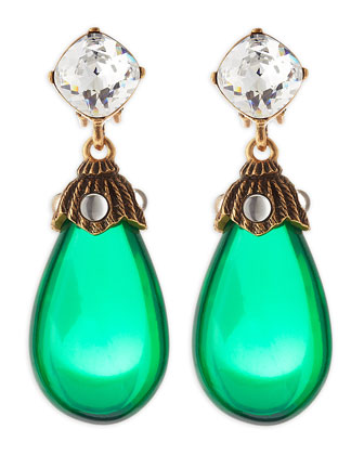Oscar de la Renta Crystal Resin Drop Clip-On Earrings, Kelly Green - Neiman Marcus