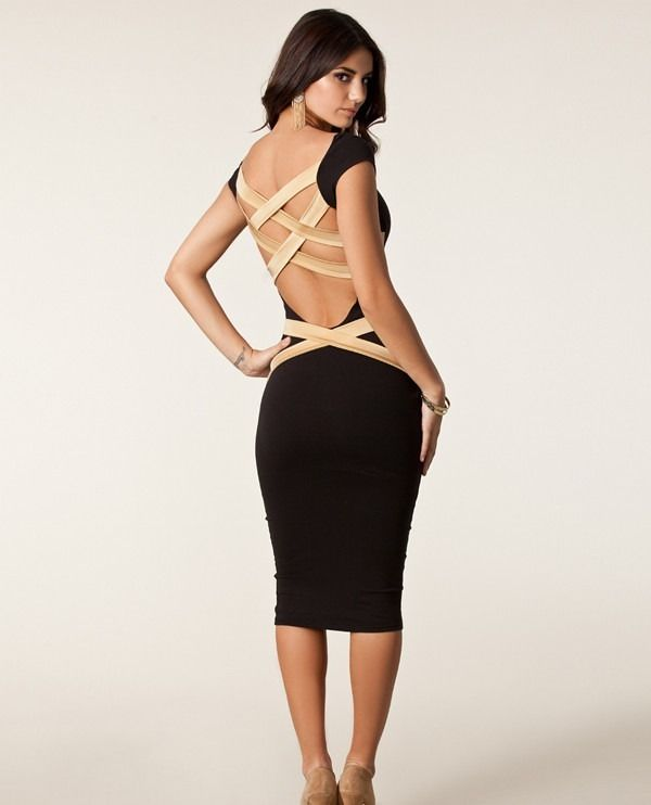 Sexy Black Backless Dress Cross Bandage Bodycon Celebrity Cocktail Party Club | eBay