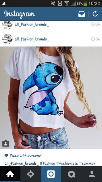 t-shirt shirt stitch blue shirt white t-shirt we ans bleu