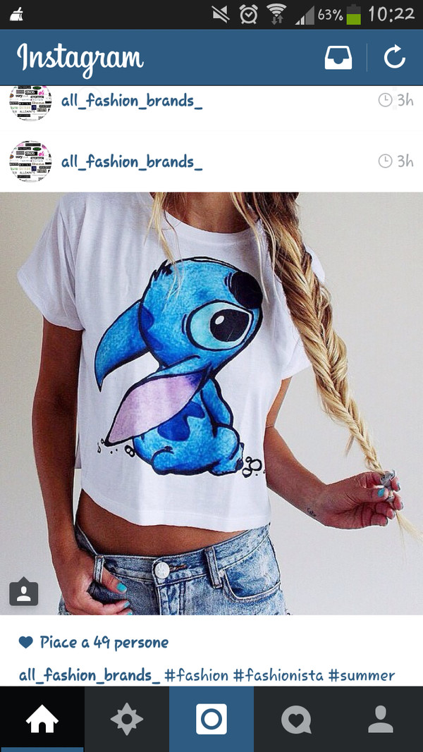 t-shirt shirt stitch blue shirt white t-shirt we ans bleu