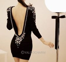 Sexy Pearl V-Back Back Backless Women Mini Evening Cocktail Party Dress | eBay