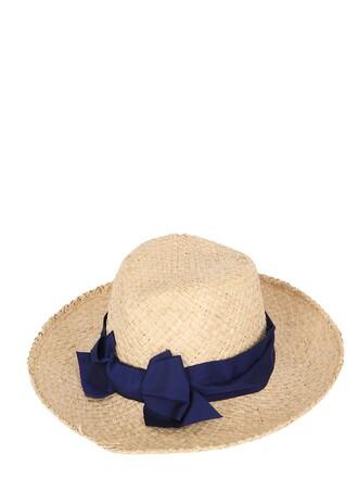 bow hat straw hat blue