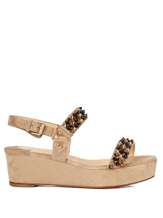 sandals flatform sandals suede beige shoes