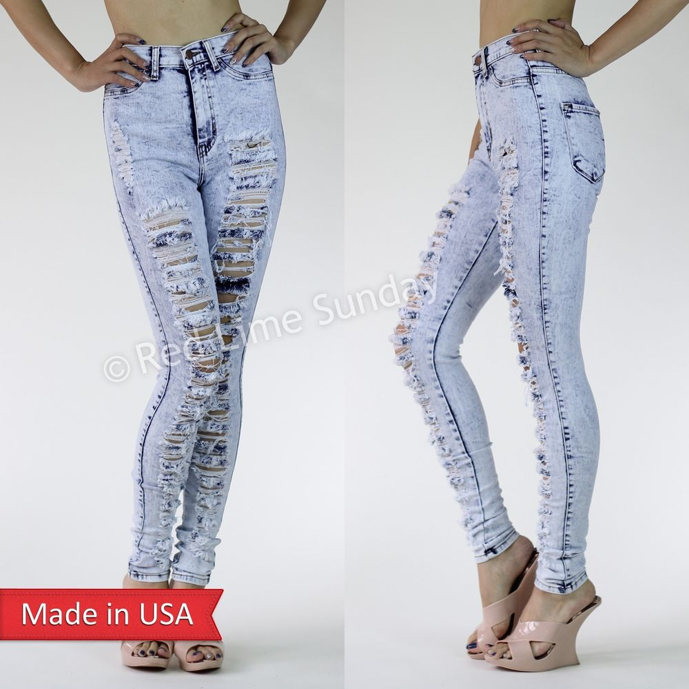 Light Blue High Waist Acid Mineral Wash Skinny Frayed Ripped Jeans Shred Pants