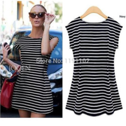 Online Shop 2014 New Fashion Summer Women Sexy Striped Dresses O-neck Sleeveless Dress Mini Vest Dress Free Shipping|Aliexpress Mobile