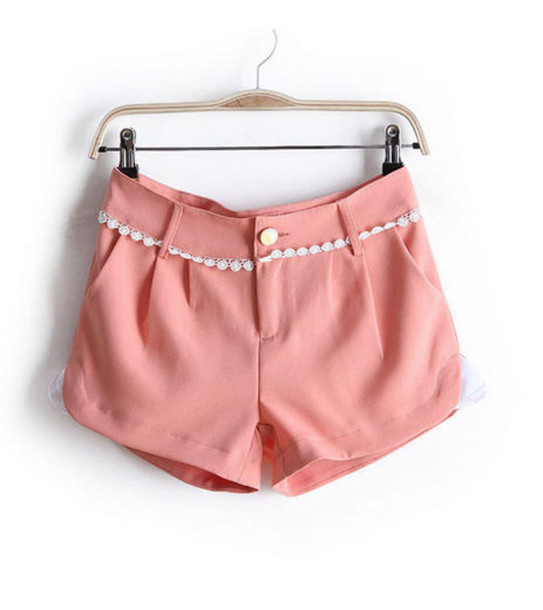 shorts lace shorts apricot sweet summer