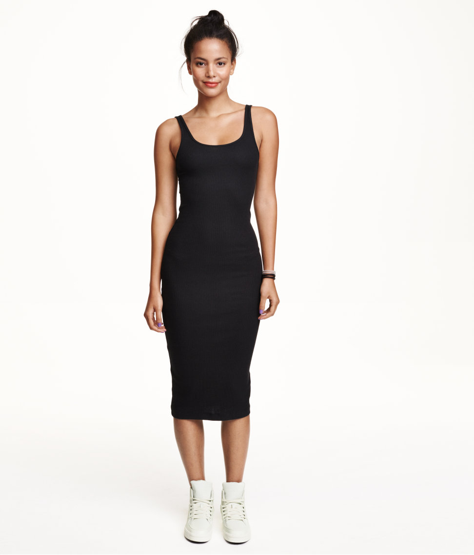 Black dress in h m - H M Ribbed Dress 7 99