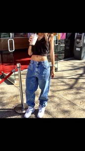 jeans,zendaya,baggy jeans,shirt,baggy,cowboy,old school,vintage,tommy hilfiger,shoes,blue jeans,hipster,swag,urban,sweater,baggy pants,denim,gangsta,ganster,gangsta rap made me do it,girly grunge,crop tops,tank top,black,blouse,jewels,trendy,tomboy,tomboy/femme,style,high waisted jeans,american apparel,bag,clothes,boyfriend jeans,love culture,hilfigure,tommy hilfigure,nike air force 1,black crop top,pants,90s style,i'd like to know where to get this whole outfit,low waisted,large pants