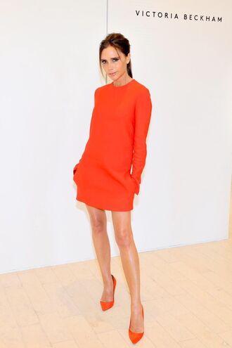 dress red dress victoria beckham pumps mini dress long sleeves