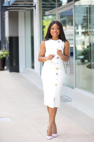 jadore-fashion blogger dress skirt shoes white dress midi dress pumps summer outfits