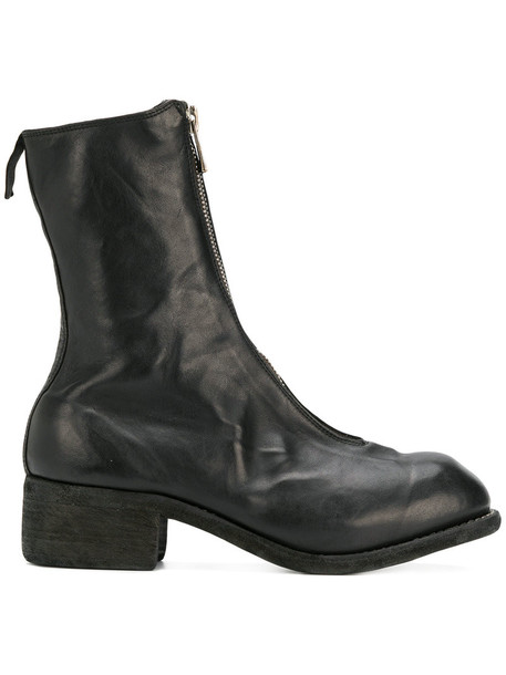 Guidi zip high women leather black shoes