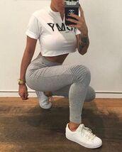 top,white,white crop tops,white top,crop tops,leggings,grey,grey leggings,adidas,adidas shoes,adidas superstars