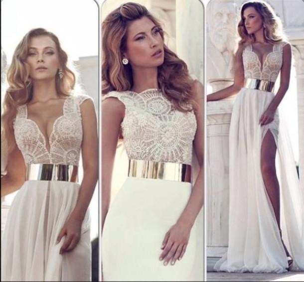 dress beige off-white
