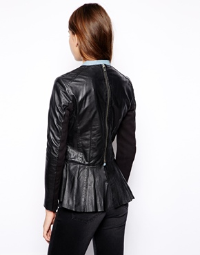 Muubaa | Muubaa Cursa Peplum Leather Jacket at ASOS