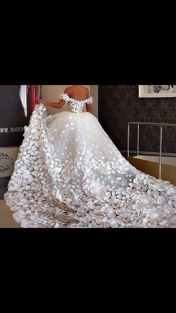 Dress Big White Flowers Beautiful Wedding Dress Ball Gown