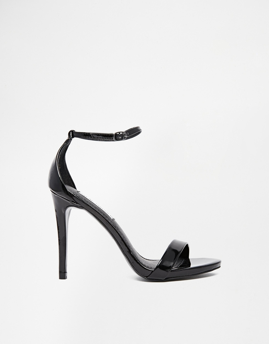 Steve Madden Stecy Black Patent Barely There Sandals at asos.com