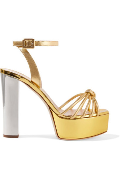 62664b441b790 Giuseppe Zanotti Giuseppe Zanotti - Lavinia Metallic Leather Platform  Sandals - Gold